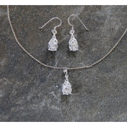 Silver Cubic Zirconia Celtic Trinity Pendant and Earring Set