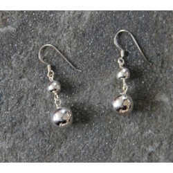 A pair of sterling silver Double Ball Drop Earring