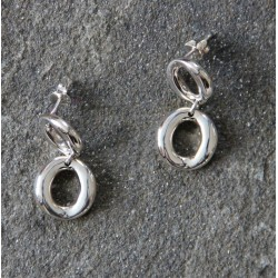 A pair of Studded Double Sterling Silver Hoops