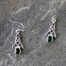 Silver Celtic Earrings with a green crystal stone