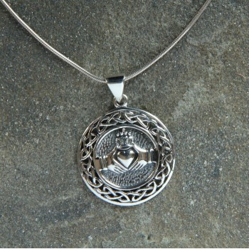 Large Sterling Silver Claddagh Pendant with a Celtic Knotwork Surround