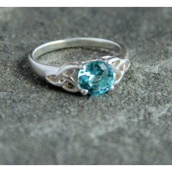 Silver Celtic Trinity Ring with Blue Crystal Stone