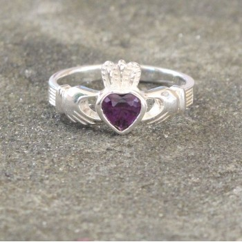 Women's Silver Claddagh Ring with Purple Crystal