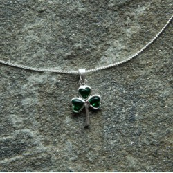 Sterling Silver Shamrock Pendant with Green stone