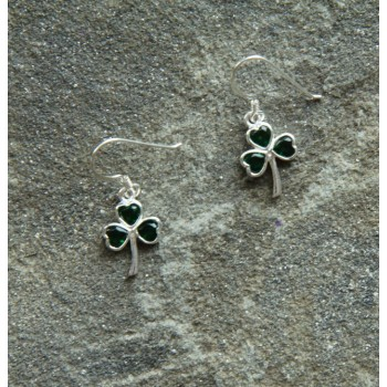 shamrock earrings with green crystals