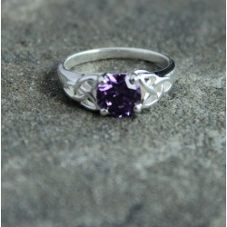 Silver Celtic Trinity Ring with Purple Crystal Stone